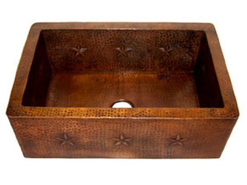 "Star Design Single Bowl Farmhouse Apron Copper Sink - Light Brown - Standard 33""x22""9"""