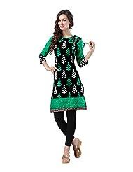 Fabdeal Black & Green Colored Cotton Printed Kurti