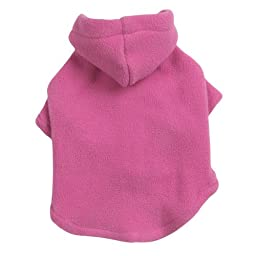 Casual Canine Polyester Basic Fleece 14-Inch Dog Hoodie, Small/Medium, Pink