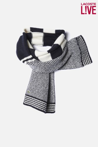 Men's L!VE Merino Wool Patterned Knit Scarf