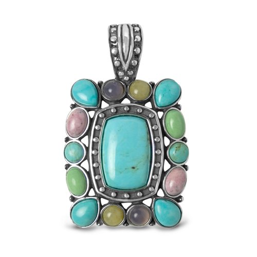 Sterling Silver Kingman Turquoise Multi-Gemstone Western Celebration Geometric Pendant Enhancer (Sterling, Turquoise, Rhodonite, Chalcedony, & Variscite Enhancer)