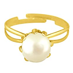 Surat Diamonds Simple White Real Button Pearl adjustable Ring for Women (Ring58)