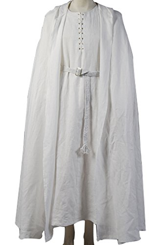 CosplaySky The Lord of the Rings Gandalf White Robe Cape Halloween Costume