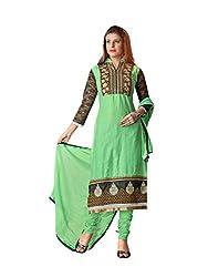 Blissta Green cotton embroidered salwar suit dress material