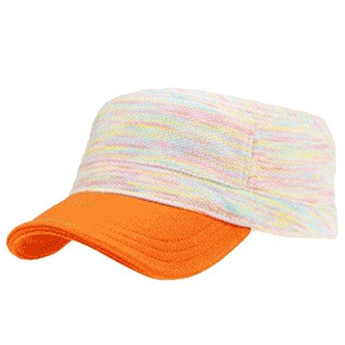 signore-del-cotone-flat-top-hat-stripes-moda-protezione-esterna-inverno-caldo-orange
