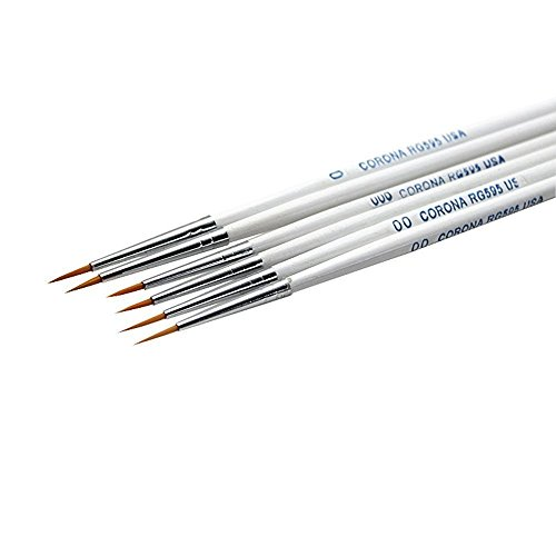 MEEDEN Detail Paint Brush Set - 6 Miniature Art Brushes for Fine Detailing & Art Painting - Acrylic, Watercolor, Oil - Miniatures, Models, Airplane Kits, Nail(Nylon Hair) (Detail Model Paint Brushes compare prices)