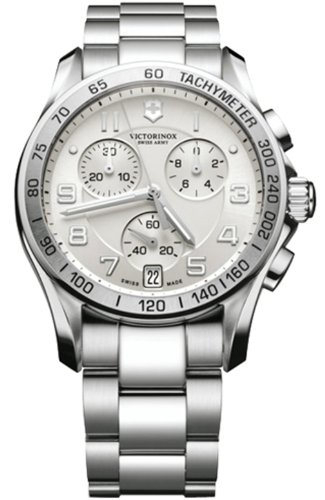 Men Swiss Army 241499 Chronograph Stainless Steel Case And Bracelet Silver Dial