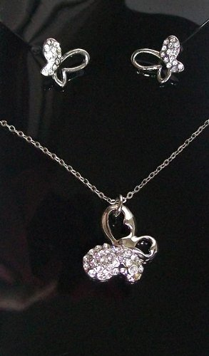 Crystal Diamante Butterfly Necklace Earring Silver Chain Bridesmaid Bridal Dress Jewellery Set