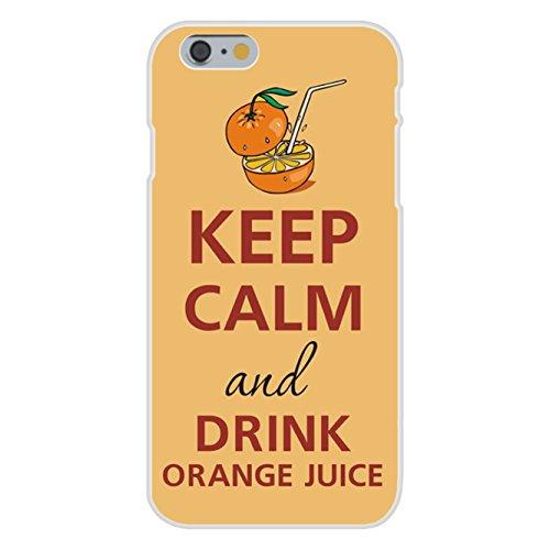 Apple Iphone 6 Custom Case White Plastic Snap On - Keep Calm And Drink Orange Juice Short Glass