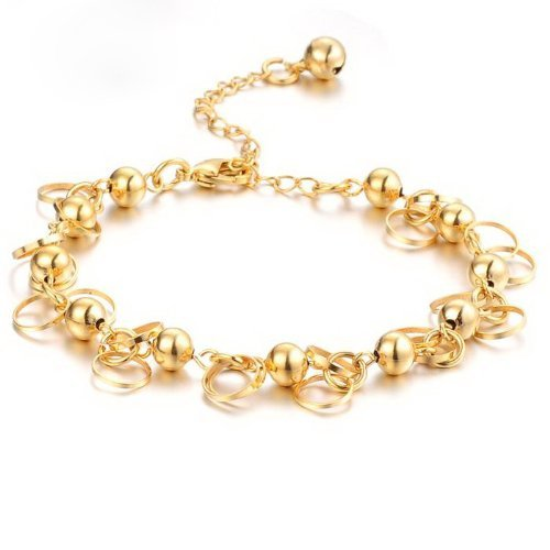 Geminis Jewelry Fashion 18K Gold Plated Adjustable Noble Women'S Bracelets Sparkling Hollow Rings Beads Wristband Elegant Wedding Party Bride Gift Never Fade And Anti-Allergy 9.84 Inch Perimeter 8G Weight New Design