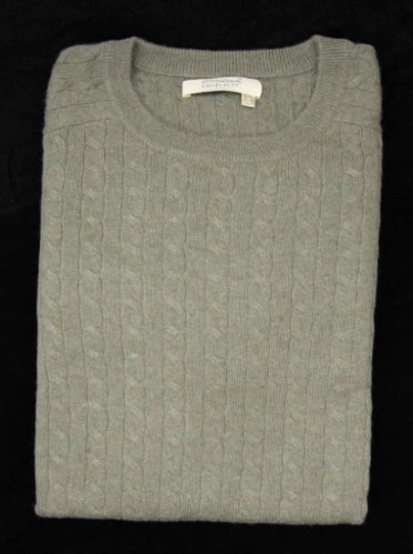 Noluur Mens Crew Neck Cable Stitch Jumper in Celadon Green Size S
