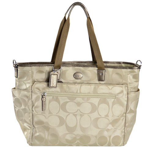 Coach   COACH Signature Nylon Baby Bag in Silver / Light Khaki 77577