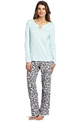 Dearfoams Women's Notch Henley And Pant Pajama Set
