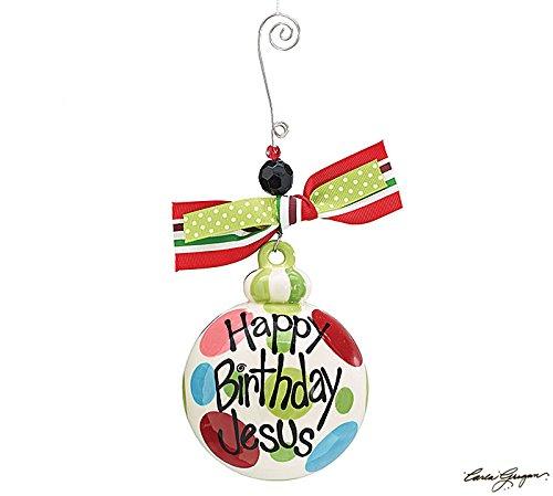 Happy Birthday Jesus Christmas Tree Ornament – Xmas Holiday Novelty Hanging Decoration
