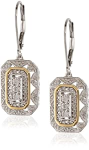 S&G Sterling Silver and 14k Yellow Gold Diamond Art Deco Style Drop Earrings (0.13 cttw, I-J Color, I2-I3 Clarity)