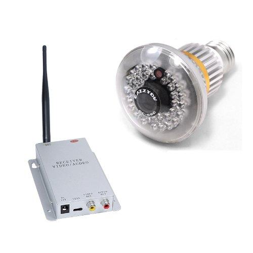 Kingzer 2.4G Wireless Bulb Cctv Security Av Camera Set 36 Ir Leds Invisible At Night