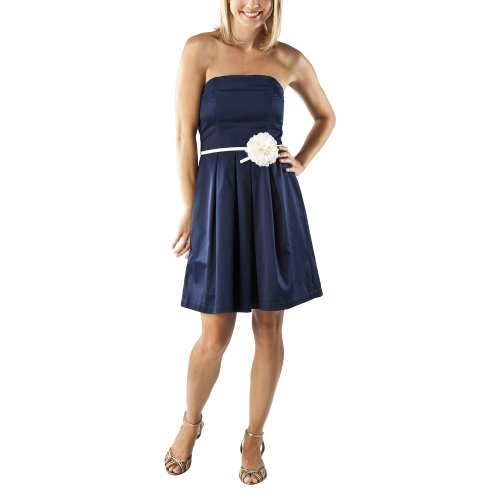 Merona® Collection Women's Strapless Dress w/Flower Belt - Navy