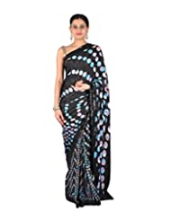 Ctc Mall Black Satin Saree - B00XLEUO3U