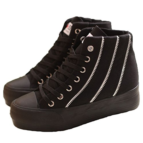 XIAXIAN Spring High-top European Style Fashion Pantshoes(7.5 B(M) US, black)