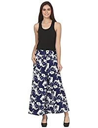 Vogue Nation Navy Blue & White Floral Motifs Women's Palazzo In Regular Fit
