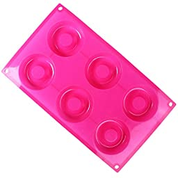 PNBB Non stick Silicone 6 Holes Donut Pan Mini Donut Makers Red