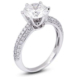 2.96 CT Exc-Cut Round E-VVS1 GIA Cert Diamond 18k Gold Three-Diamonds Row Engagement Ring 4.15gr