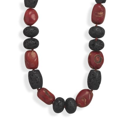 19.5 Inch Coral and Lava Rock Necklace