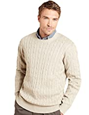 "2"" Longer Blue Harbour Pure Cotton Cable Knit Jumper"
