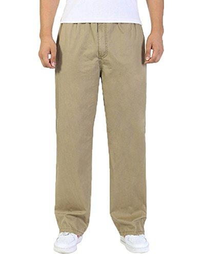 Pantaloni in cotone Cargo con elastico Loose-Fit per il tempo libero lavoro yellow XXXL