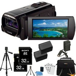 Sony HDR-TD30V HDRTD30V TD30 HDR-TD30 Full HD 3D Handycam Camcorder with 3.5-Inch LCD (Black) ULTIMATE Bundle with 32GB SD Card (Qty 2), Spare Battery (Qty 2), Rapid AC/DC Charger, Full Sized Tripod, Deluxe Case + MORE