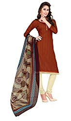 Women Latest Fancy Designer Salwar Suit Dress Material Khadi Brown Dyed + Lace Unstitched