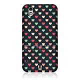 Ecell - HEAD CASE GREEN & PEACH MULTI-COLOURED HEARTS CASE FOR LG OPTIMUS BLACK P970