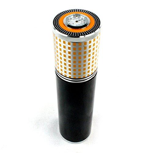 Black-Aluminium-Alloy-Cigar-Jar-Tube-Humidor-With-Humidifier-Hygrometer