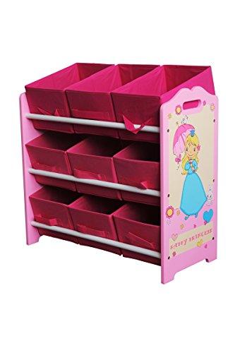 Grande étagère à jouets Happy Princess pour enfants, en bois - Sérigraphie brevetée