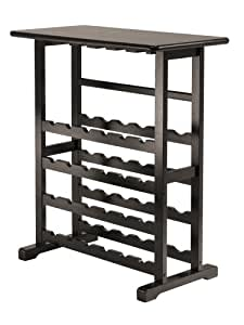 Winsome Vinny Wine Rack, 24 Bottle with Glass Hanger