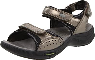 Clarks Women's Wave.Whisk Sandal,Pewter Leather,5 M US