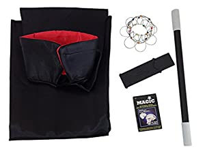 """Kids Magic Set Bundle-5 Items:Black Satin Cape with Red Collar (42""""), Magic Wand (13.5""""),Disappearing Coin Case, Magic Wire Rings, Magic Playing Cards"""