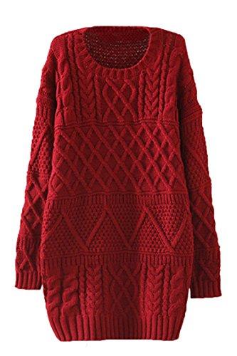 Pink-QueenWomens-Vintage-Solid-Fried-Dough-Twist-Knitwear-Sweater-Dress