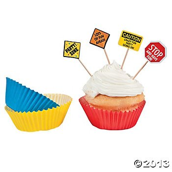 Fun Express Construction Zone Birthday Party Cupcake Baking Cups and Picks - 50 Piece Pack (Baking Party Theme compare prices)