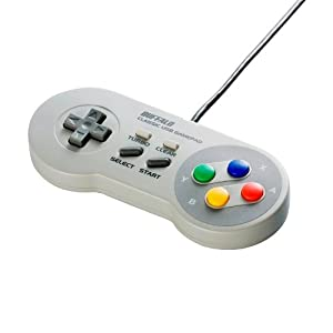 BUFFALO USBゲームパッド 8ボタン スーパーファミコン風 グレー BSGP801GY