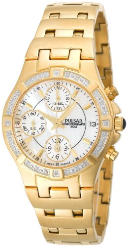 Pulsar Women's PF8264 Diamond Mother Of Pearl Gold-Tone Watch