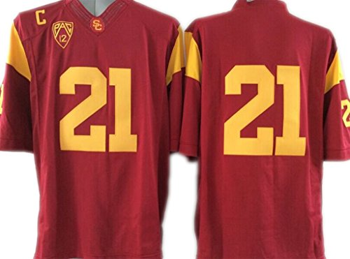 [NCAA Men's Football Jersey USC NO.21 Trojans RED Fashion Football Jersey XL] (Usc Fan Costume)