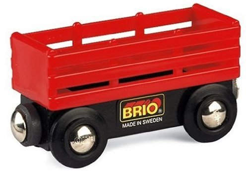 BRIO 33651 Wooden Railway System: Red Cattle Wagon