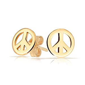 Bling Jewelry Childrens Jewelry Gold Plated 925 Sterling Silver Peace Sign Stud Earrings