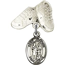 Sterling Silver Baby Badge with St. Joachim Charm and Baby Boots Pin 1 X 5/8 inches