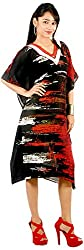 vogue4all Women's Cotton A-Line Dress (Black & Red)