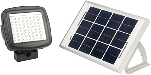 MicroSolar - 64 LED - Lithium Battery - Solar FloodLight --- Automatically Working from Dusk to Dawn at Good Sunshine // with Wall Mounted Brackets and Ground Mounted Stakes // Adjustable Light Fixture from Left to Right, Up and Down