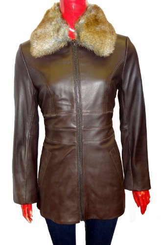 Ann Klein Zip Out Fur Collar Leather Jacket-Brown-L