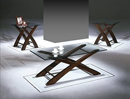 Brand New 3-pack Crossing Leg Coffee Table (1)and End Table (2) Cocktail set with 8mm Tampered Glass Table Top