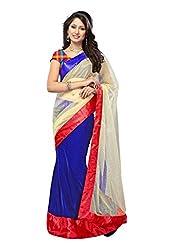 Offo Deals Womens Net Saree ( TM-23_Blue and Cream_Freesize)